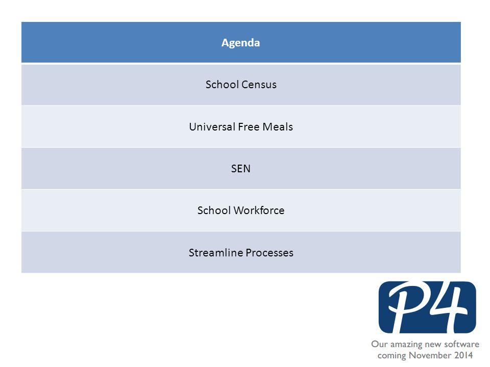 Agenda School Census Universal Free Meals SEN School Workforce Streamline Processes