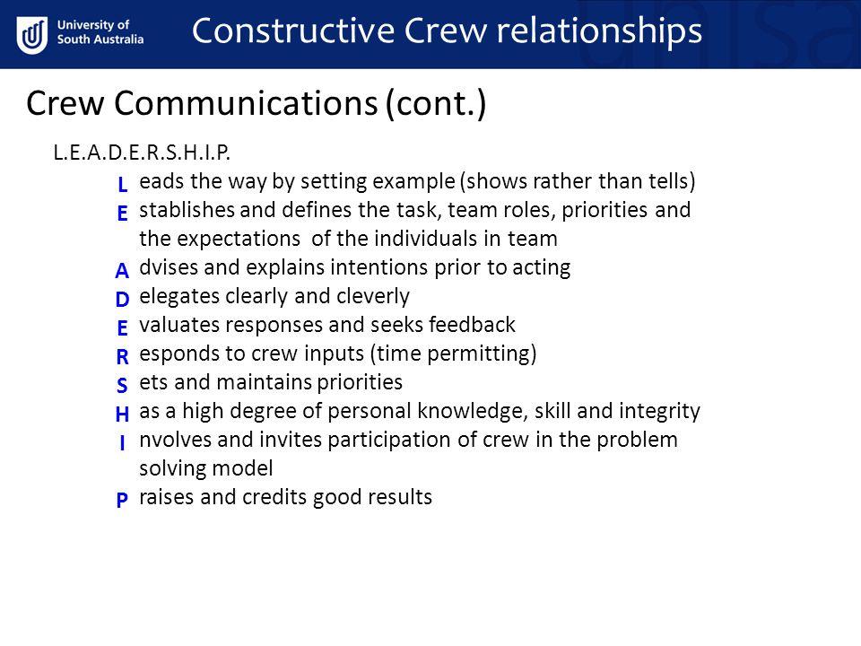 Crew Communications (cont.) Constructive Crew relationships L.E.A.D.E.R.S.H.I.P.