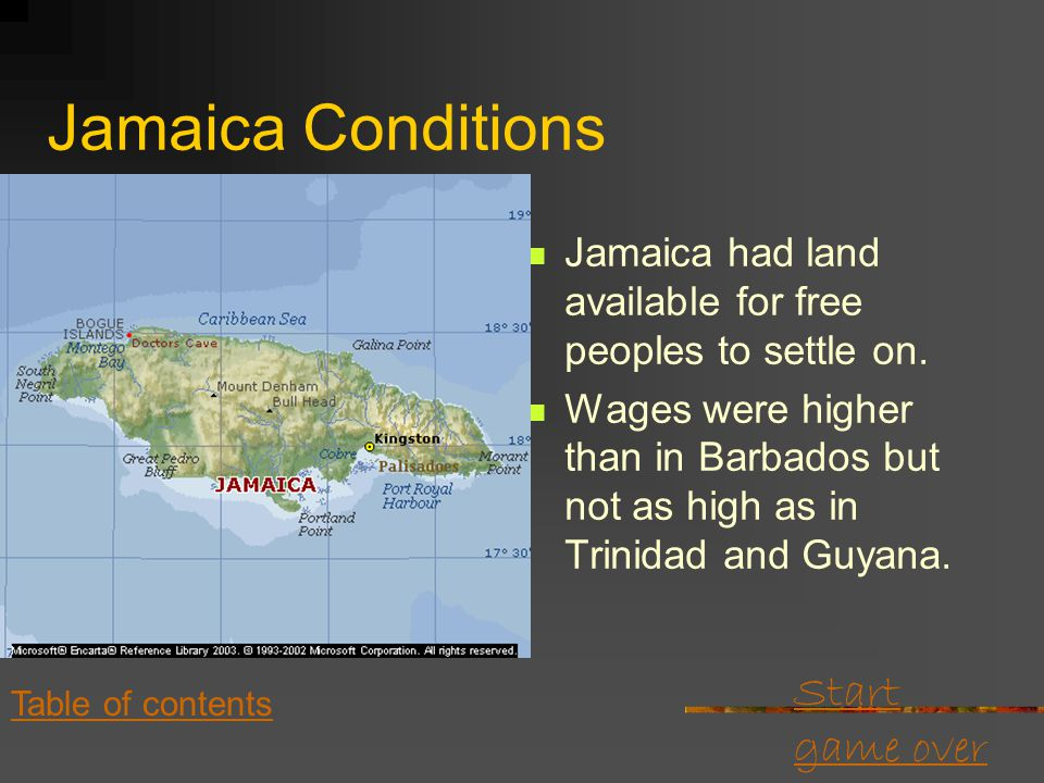 Start game over Table of contents Grenada and Windward Islands Grenada and the other Windward Islands were very mountainous. There was good fertile la
