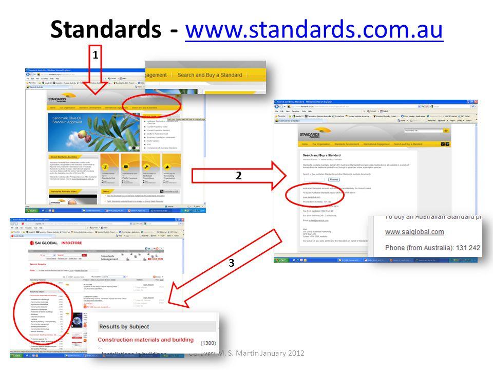 Standards - www.standards.com.auwww.standards.com.au Cert IV - M. S. Martin January 2012 1 2 3