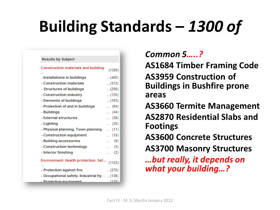 Building Standards – 1300 of Common 5…..? AS1684 Timber Framing Code AS3959 Construction of Buildings in Bushfire prone areas AS3660 Termite Managemen