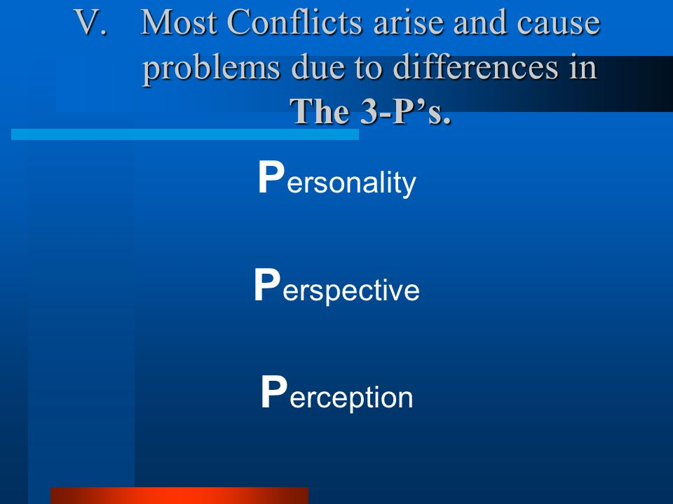 V.Most Conflicts arise and cause problems due to differences in The 3-P's.
