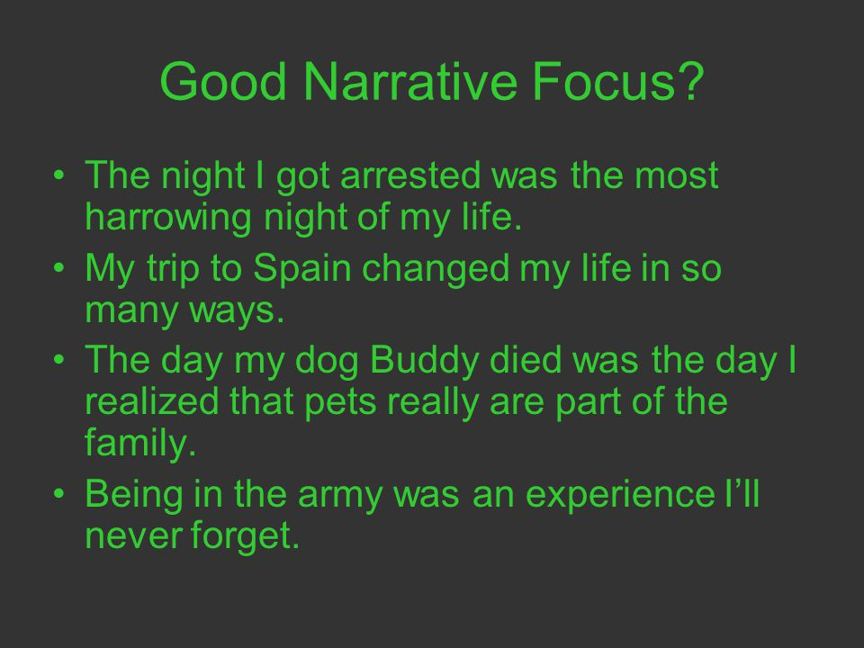 narrative essay about an experience that changed your life Narrative essay, the change in your life but that evening, for the first time in my life, i wished i could experience what that man did mr todd let me borrow.