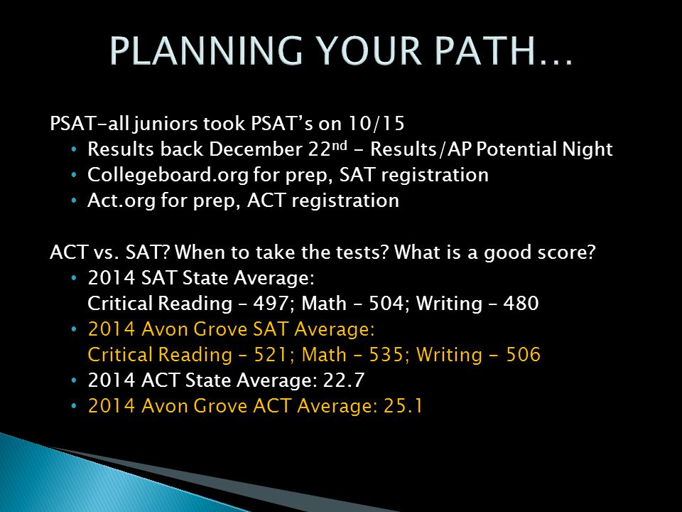 PSAT-all juniors took PSAT's on 10/15 Results back December 22 nd - Results/AP Potential Night Collegeboard.org for prep, SAT registration Act.org for prep, ACT registration ACT vs.