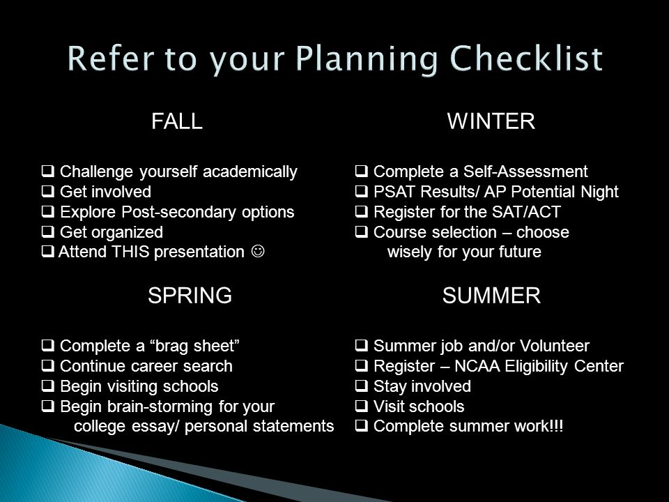 FALL  Challenge yourself academically  Get involved  Explore Post-secondary options  Get organized  Attend THIS presentation SPRING  Complete a brag sheet  Continue career search  Begin visiting schools  Begin brain-storming for your college essay/ personal statements SUMMER  Summer job and/or Volunteer  Register – NCAA Eligibility Center  Stay involved  Visit schools  Complete summer work!!.