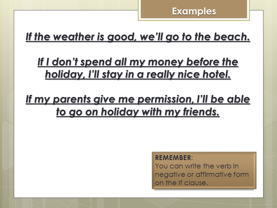 Making a Statement IF CLAUSE: PRESENT If + + verb in simple present + complement If If the weather is good… RESULT CLAUSE: FUTURE + verb in future tense (will) + complement We We will go tothe beach If the weather is good, we'll go to the beach.
