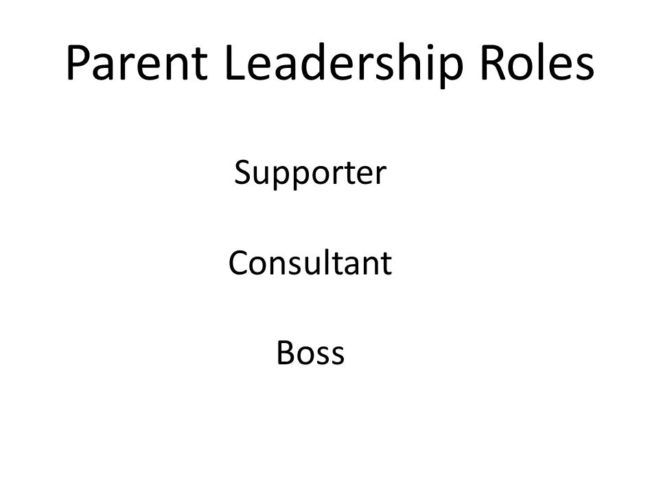 Parent Leadership Roles Supporter Consultant Boss