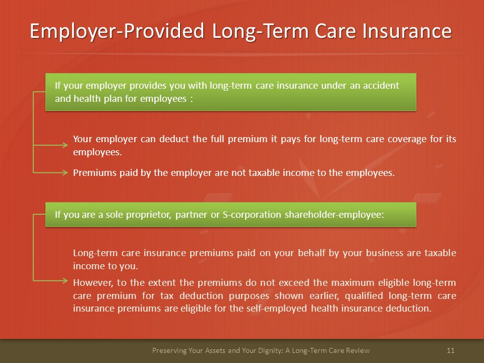 Employer-Provided Long-Term Care Insurance 11Preserving Your Assets and Your Dignity: A Long-Term Care Review Your employer can deduct the full premium it pays for long-term care coverage for its employees.