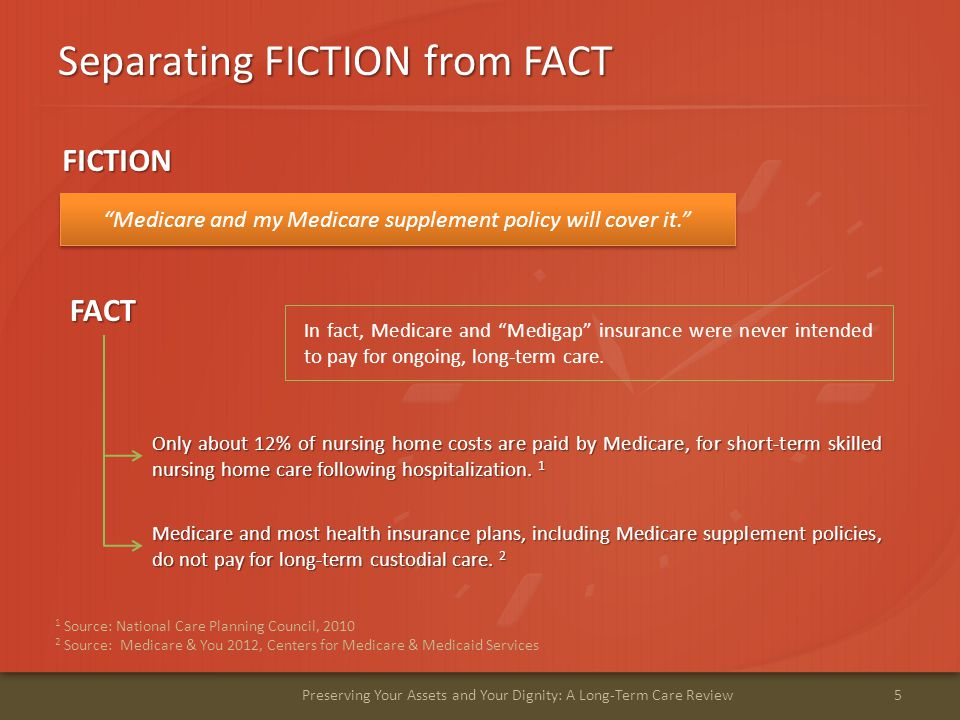 """Separating FICTION from FACT 5Preserving Your Assets and Your Dignity: A Long-Term Care Review """"Medicare and my Medicare supplement policy will cover"""