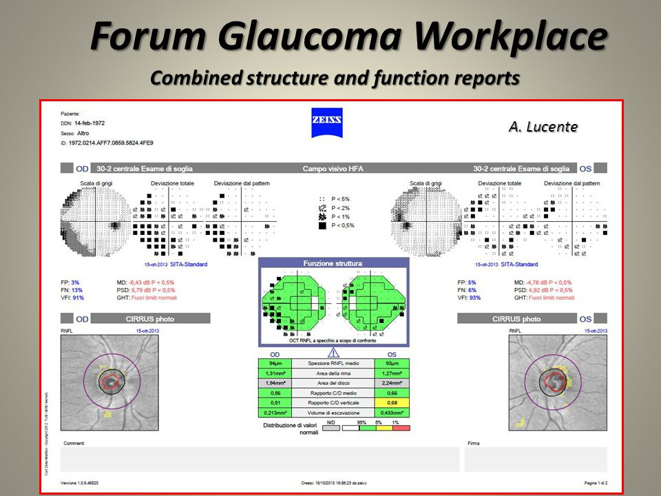 12 A. Lucente Forum Glaucoma Workplace Combined structure and function reports