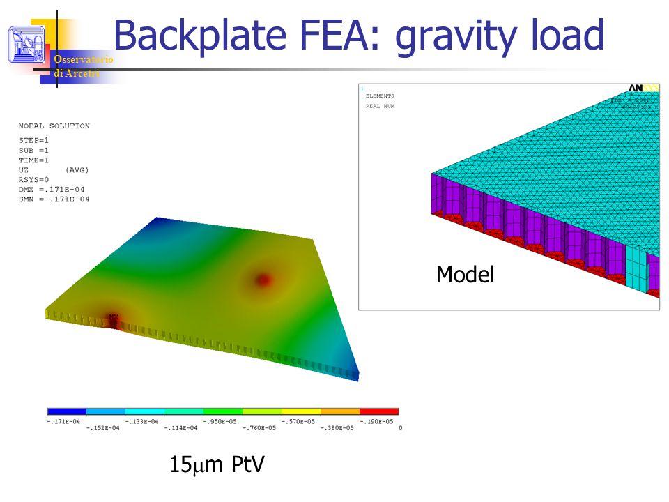 Osservatorio di Arcetri Backplate FEA: gravity load 15  m PtV Model