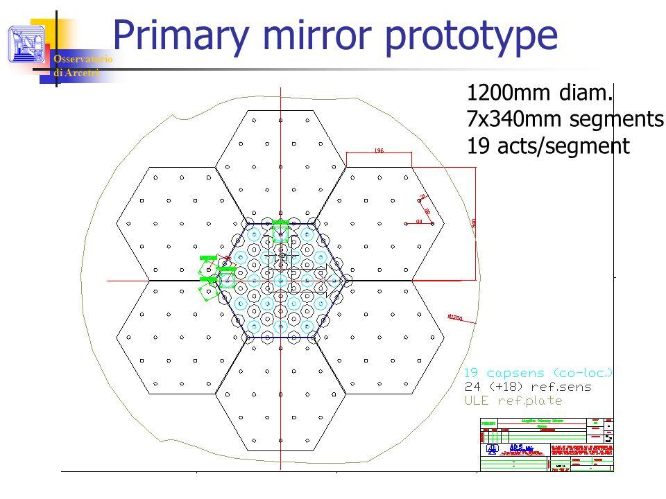Osservatorio di Arcetri Primary mirror prototype 1200mm diam. 7x340mm segments 19 acts/segment