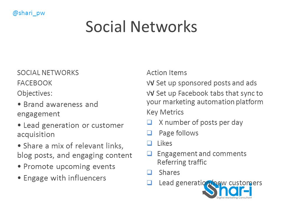 @shari_pw Social Networks SOCIAL NETWORKS FACEBOOK Objectives: Brand awareness and engagement Lead generation or customer acquisition Share a mix of relevant links, blog posts, and engaging content Promote upcoming events Engage with influencers Action Items √√ Set up sponsored posts and ads √√ Set up Facebook tabs that sync to your marketing automation platform Key Metrics  X number of posts per day  Page follows  Likes  Engagement and comments Referring traffic  Shares  Lead generation/new customers
