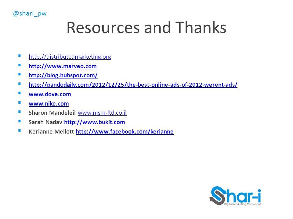 @shari_pw Resources and Thanks  http://distributedmarketing.org http://distributedmarketing.org  http://www.marveo.com http://www.marveo.com  http://blog.hubspot.com/ http://blog.hubspot.com/  http://pandodaily.com/2012/12/25/the-best-online-ads-of-2012-werent-ads/ http://pandodaily.com/2012/12/25/the-best-online-ads-of-2012-werent-ads/  www.dove.com www.dove.com  www.nike.com www.nike.com  Sharon Mandeleil www.msm-ltd.co.ilwww.msm-ltd.co.il  Sarah Nadav http://www.bukit.comhttp://www.bukit.com  Kerianne Mellott http://www.facebook.com/keriannehttp://www.facebook.com/kerianne
