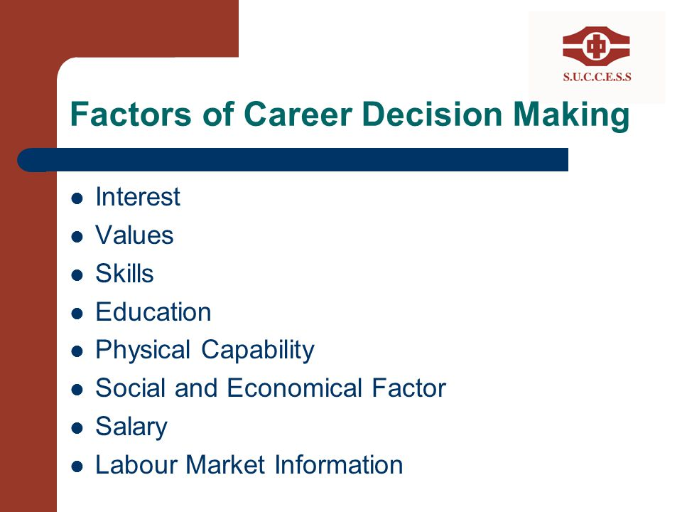 Factors of Career Decision Making Interest Values Skills Education Physical Capability Social and Economical Factor Salary Labour Market Information