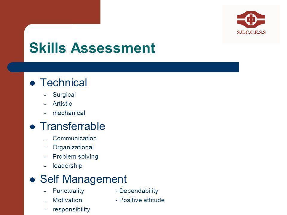 Skills Assessment Technical – Surgical – Artistic – mechanical Transferrable – Communication – Organizational – Problem solving – leadership Self Mana