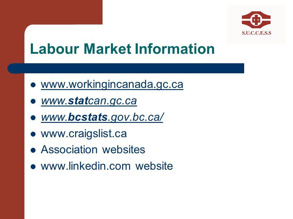Labour Market Information www.workingincanada.gc.ca www.statcan.gc.ca www.statcan.gc.ca www.bcstats.gov.bc.ca/ www.bcstats.gov.bc.ca/ www.craigslist.c