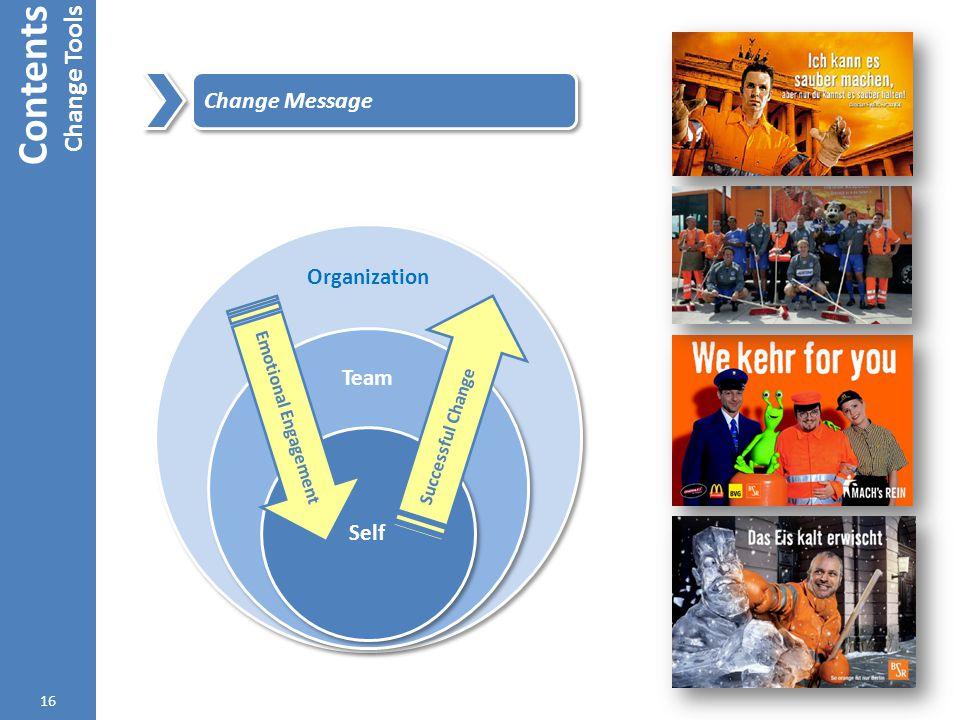 Contents Change Tools 16 Change Message Emotional Engagement Successful Change