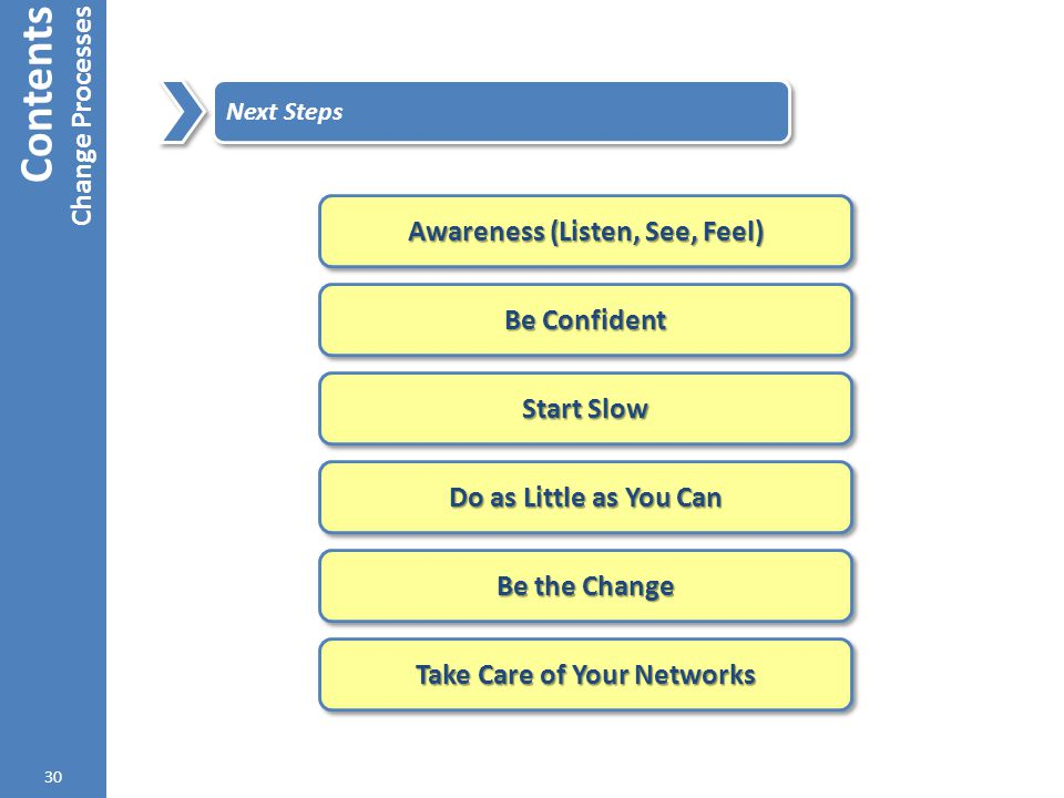 Contents Change Processes 30 Next Steps Awareness (Listen, See, Feel) Be Confident Start Slow Do as Little as You Can Be the Change Take Care of Your
