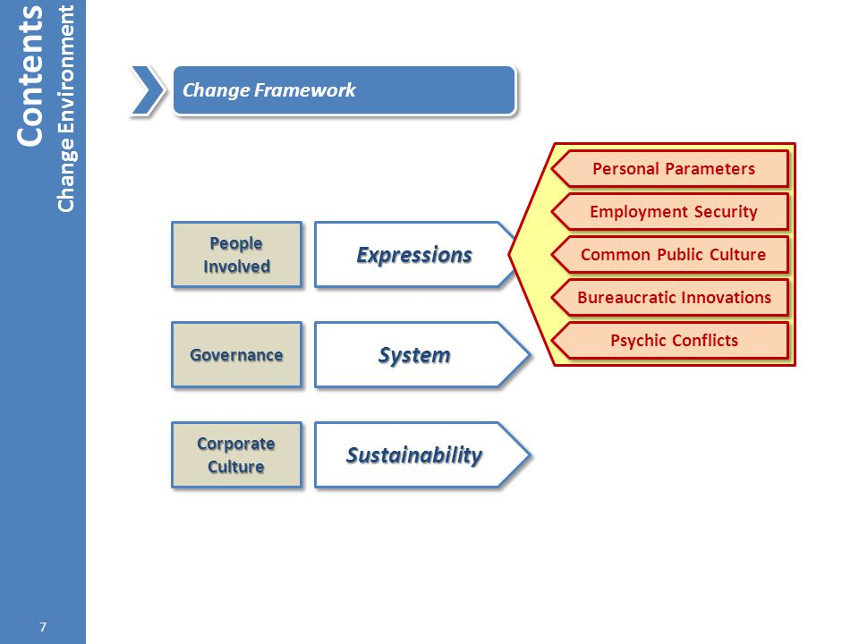 ExpressionsExpressions Contents Change Environment 7 Change Framework People Involved SystemSystemGovernanceGovernance SustainabilitySustainability Co
