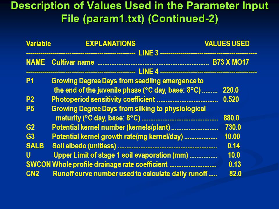 Description of Values Used in the Parameter Input File (param1.txt) (Continued-2) Variable EXPLANATIONS VALUES USED ---------------------------------------------------- LINE 3 ---------------------------------------------- NAME Cultivar name................................................................