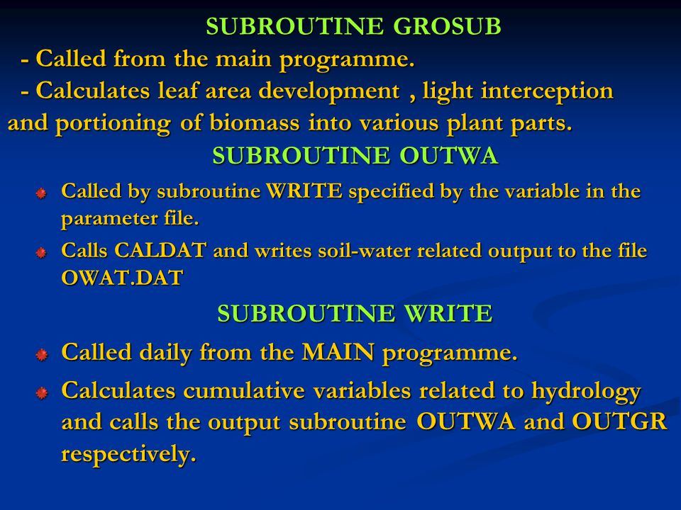 SUBROUTINE GROSUB - Called from the main programme.