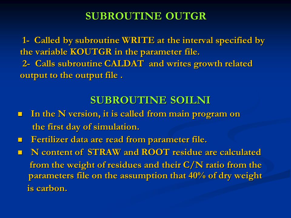 SUBROUTINE OUTGR 1- Called by subroutine WRITE at the interval specified by the variable KOUTGR in the parameter file.