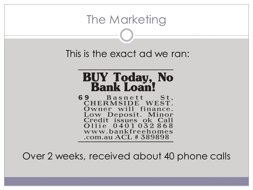 The Marketing Over 2 weeks, received about 40 phone calls This is the exact ad we ran: