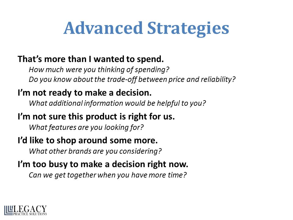 Advanced Strategies That's more than I wanted to spend. How much were you thinking of spending? Do you know about the trade-off between price and reli