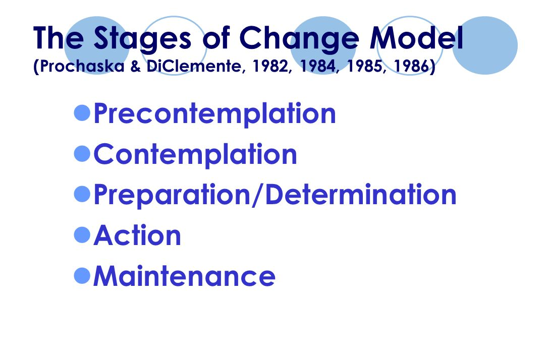 The Stages of Change Model (Prochaska & DiClemente, 1982, 1984, 1985, 1986) Precontemplation Contemplation Preparation/Determination Action Maintenance