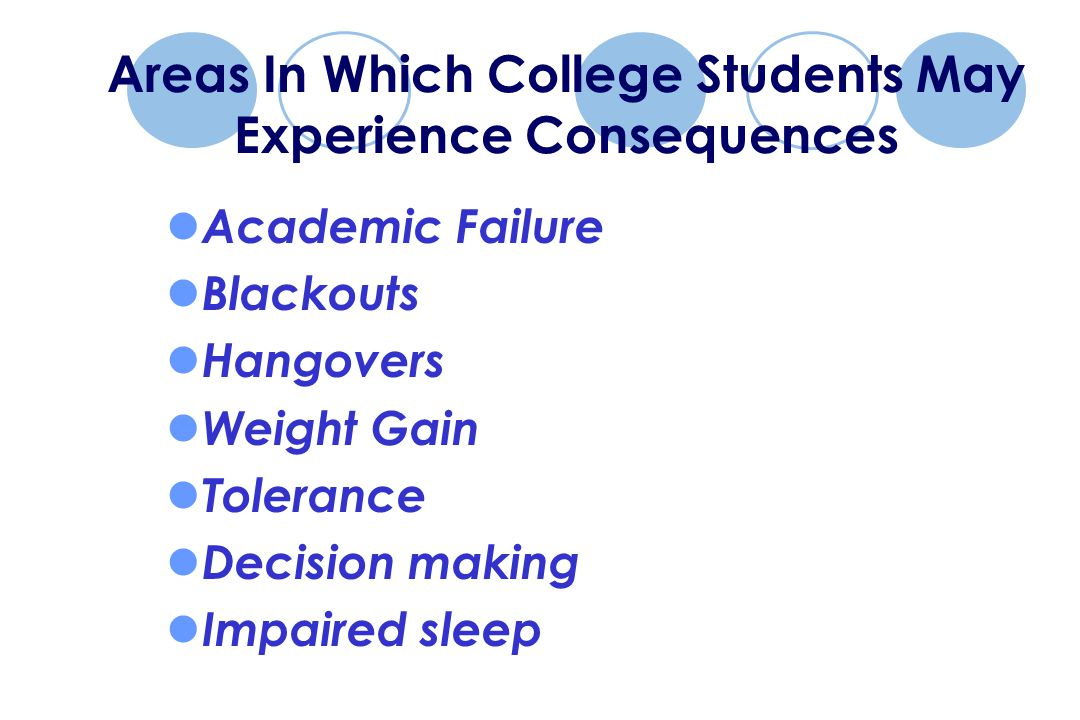 Areas In Which College Students May Experience Consequences Academic Failure Blackouts Hangovers Weight Gain Tolerance Decision making Impaired sleep