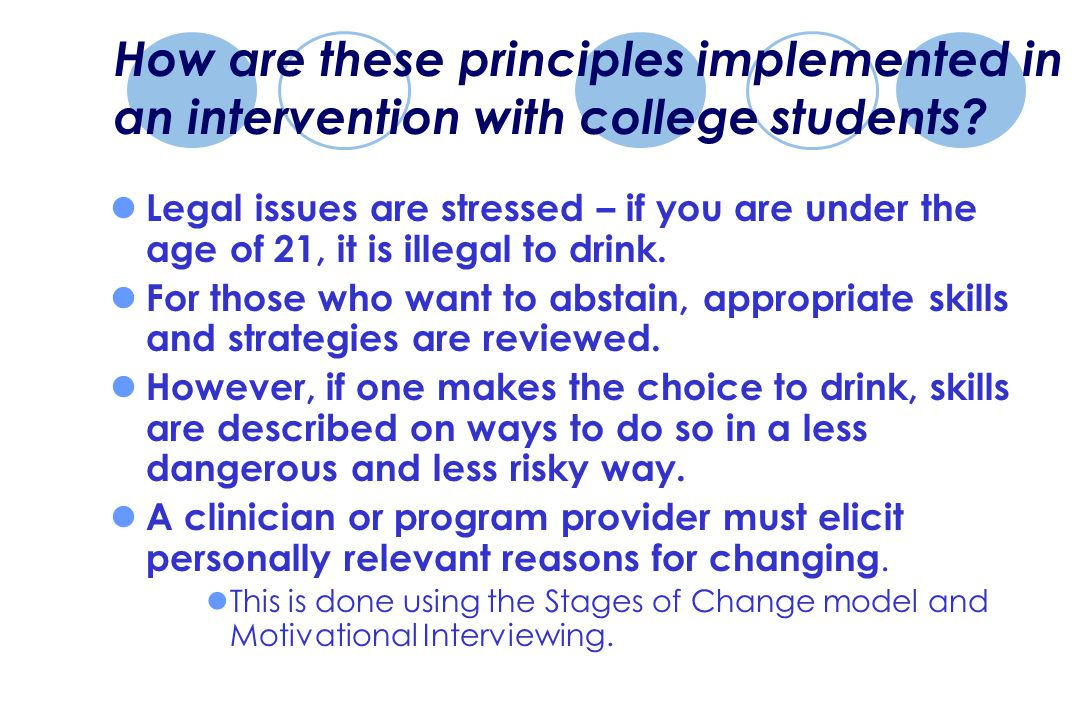 How are these principles implemented in an intervention with college students.