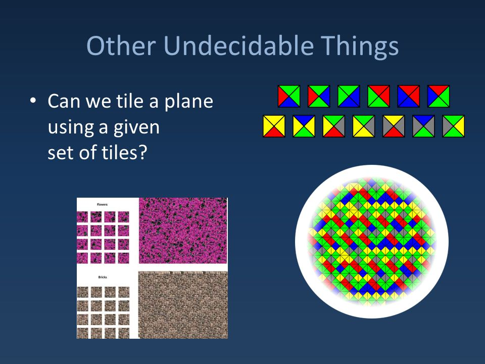Other Undecidable Things Can we tile a plane using a given set of tiles