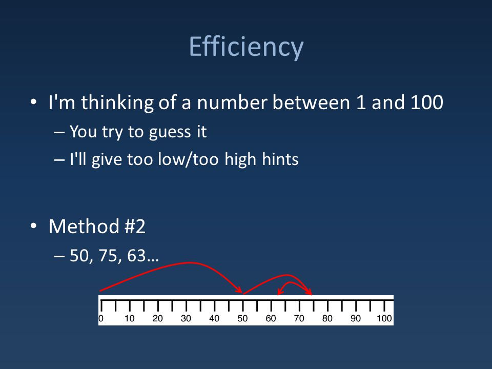 Efficiency I m thinking of a number between 1 and 100 – You try to guess it – I ll give too low/too high hints Method #2 – 50, 75, 63…