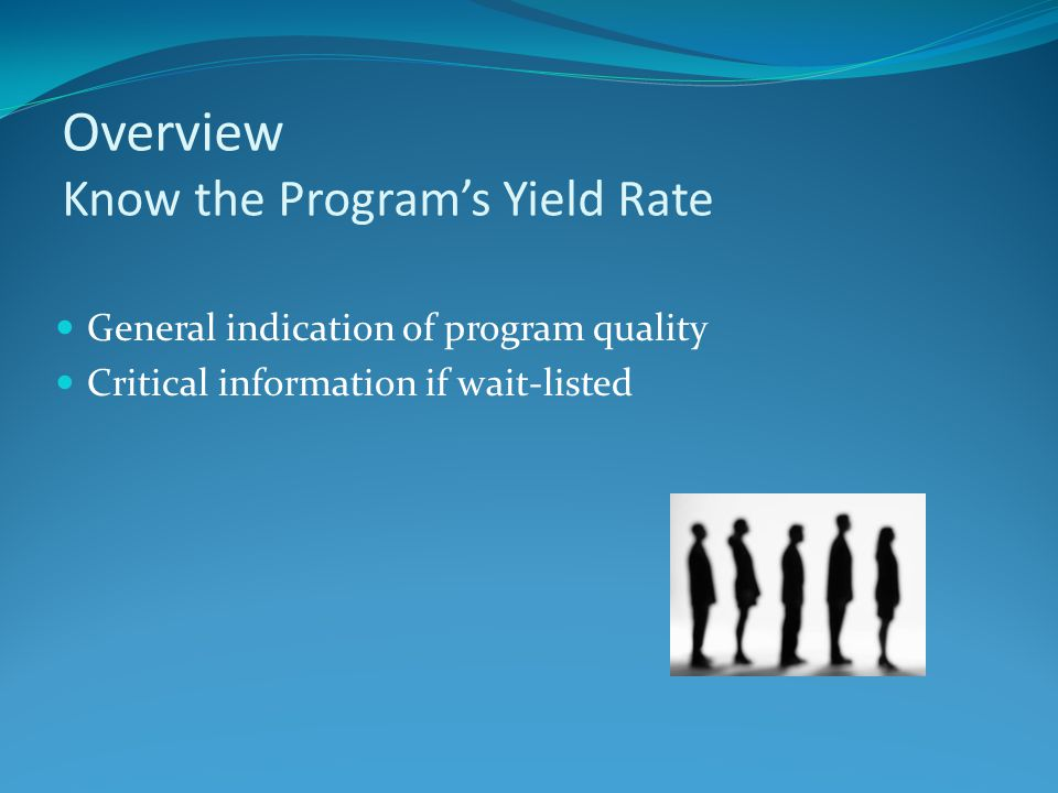 Overview Know the Program's Yield Rate General indication of program quality Critical information if wait-listed