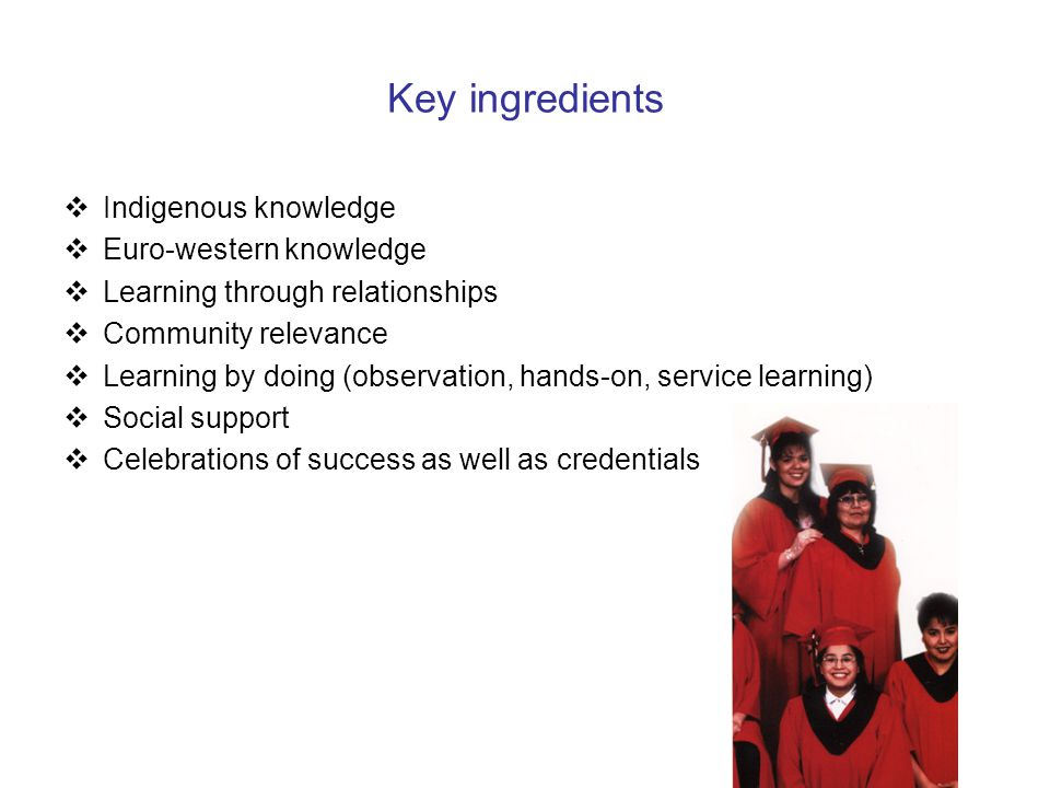 Key ingredients  Indigenous knowledge  Euro-western knowledge  Learning through relationships  Community relevance  Learning by doing (observation, hands-on, service learning)  Social support  Celebrations of success as well as credentials