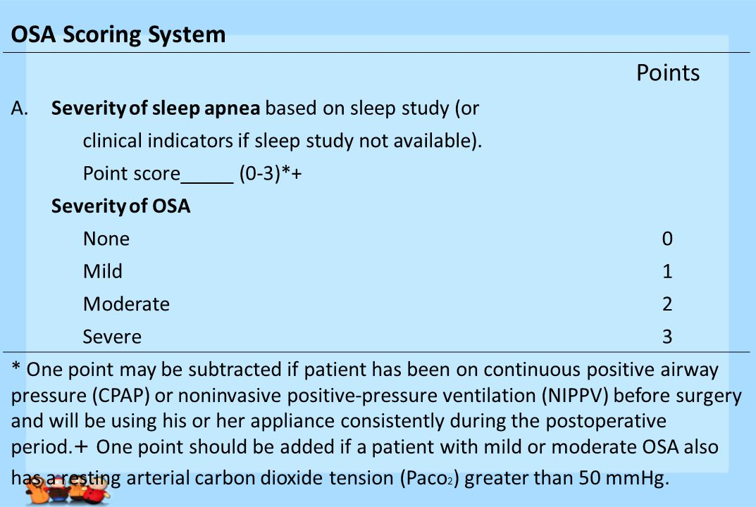 OSA Scoring System Points A.Severity of sleep apnea based on sleep study (or clinical indicators if sleep study not available).