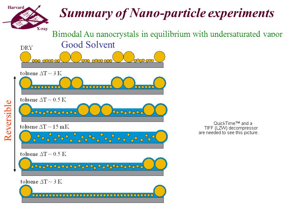 Bimodal Au nanocrystals in equilibrium with undersaturated vapor Good Solvent Poor vs.....