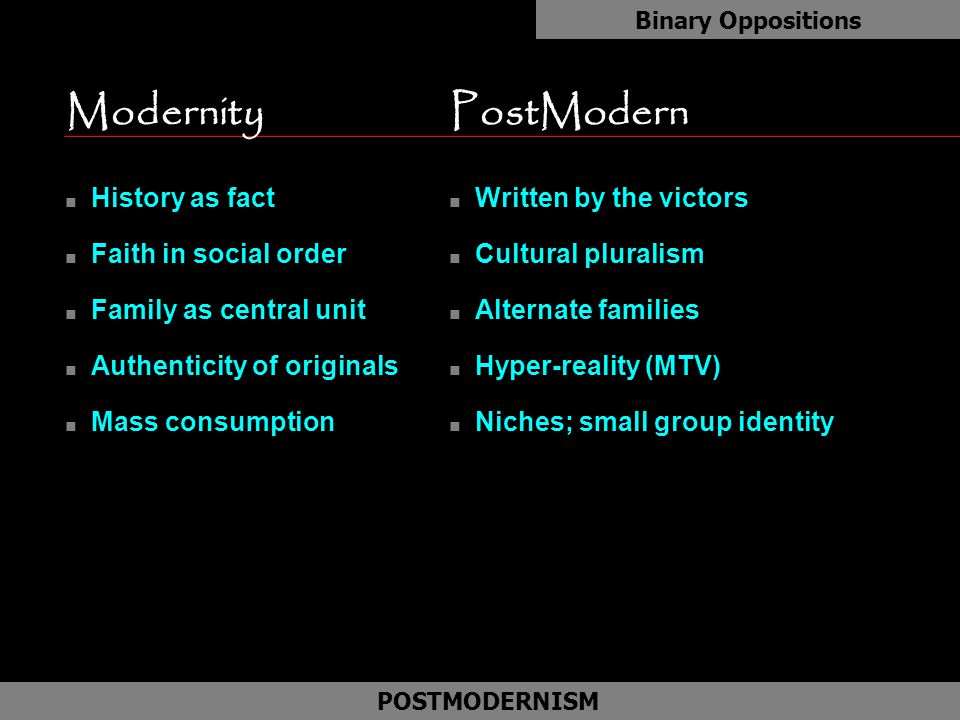 ModernityPostModern n History as fact n Faith in social order n Family as central unit n Authenticity of originals n Mass consumption Binary Oppositio