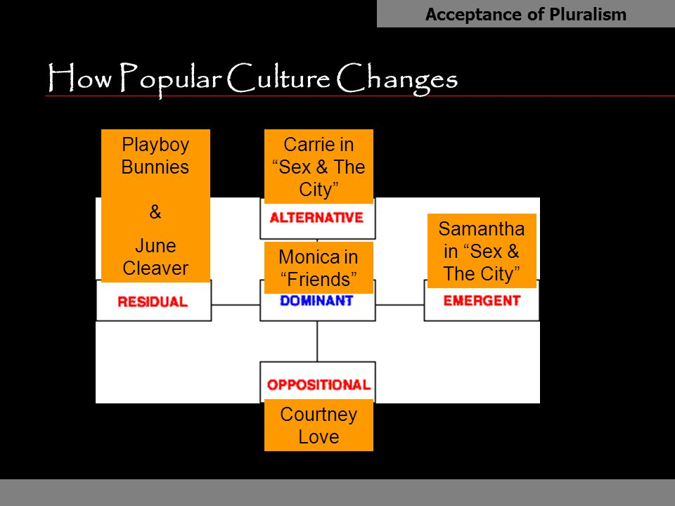 "How Popular Culture Changes Acceptance of Pluralism Monica in ""Friends"" Playboy Bunnies & June Cleaver Samantha in ""Sex & The City"" Courtney Love Carr"