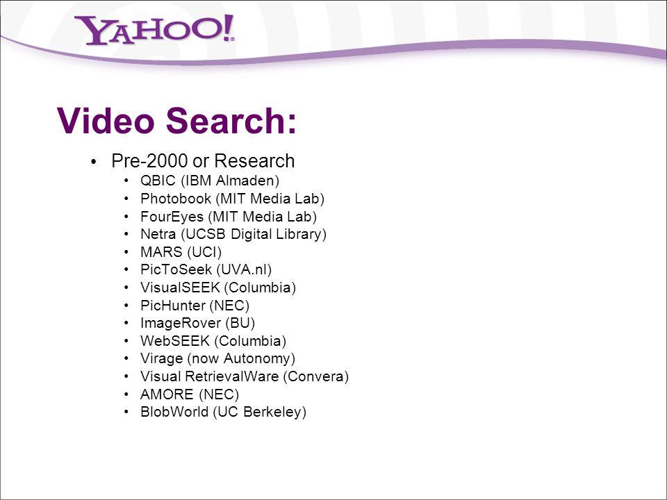 Video Search: Pre-2000 or Research QBIC (IBM Almaden) Photobook (MIT Media Lab) FourEyes (MIT Media Lab) Netra (UCSB Digital Library) MARS (UCI) PicTo