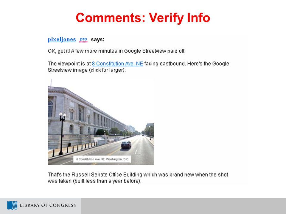 Comments: Verify Info