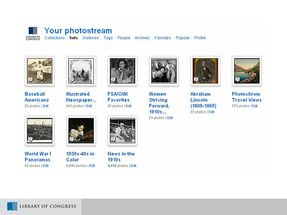Flickr Pilot Project Goals  DISCOVERY: Share photos from LC collections with people who enjoy images but might not visit the Library's own Web site  ENGAGEMENT: Gain information about historical pictures, which are often incompletely identified when they reach LC  LEARNING: Build experience participating in Web communities