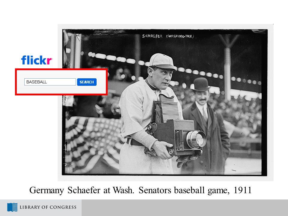 Germany Schaefer at Wash. Senators baseball game, 1911