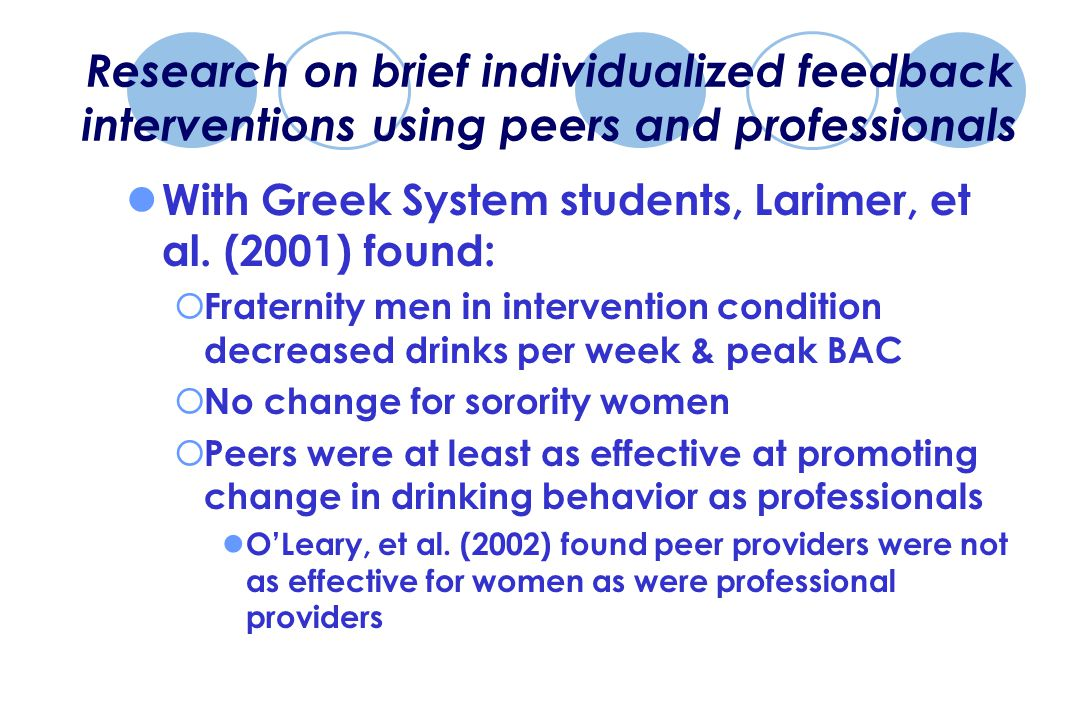 Research on brief individualized feedback interventions using peers and professionals With Greek System students, Larimer, et al.