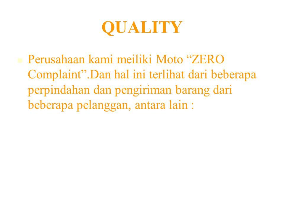 QUALITY Perusahaan kami meiliki Moto ZERO Complaint .Dan hal ini terlihat dari beberapa perpindahan dan pengiriman barang dari beberapa pelanggan, antara lain :