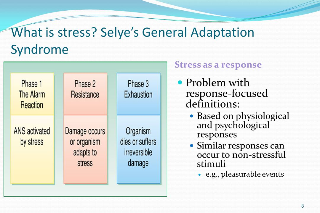 What is stress? Selye's General Adaptation Syndrome Stress as a response Problem with response-focused definitions: Based on physiological and psychol
