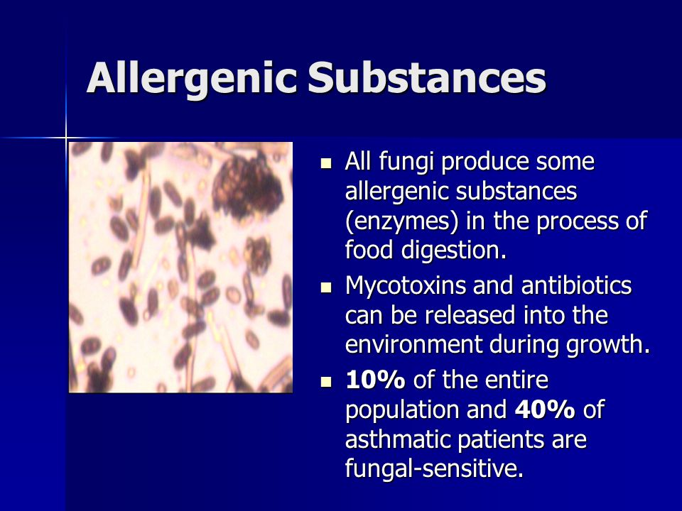 Allergenic Substances All fungi produce some allergenic substances (enzymes) in the process of food digestion.