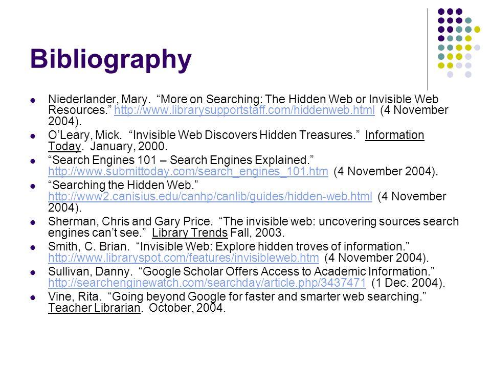 Bibliography Niederlander, Mary.