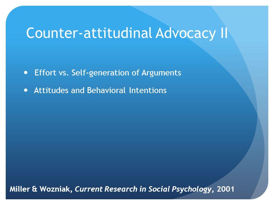 Counter-attitudinal Advocacy II Effort vs.